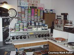 """Classic radio studio (when everything was on """"carts"""" in the early '60s)."""