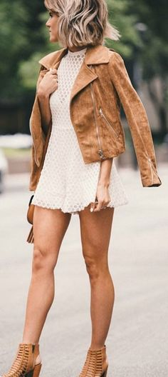Love this outfit for a night out in the summer; romper + suede jacket & heels