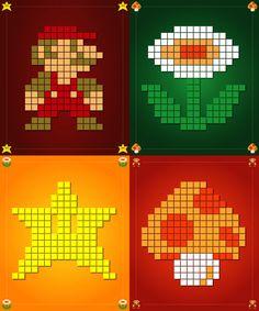 A Super Mario Bros. poster series featuring 8-bit artwork - tapestry crochet inspiration