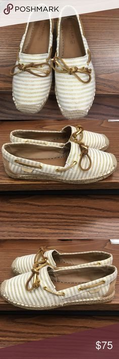 Sperry Top-Sider shoes Sperry Top-Sider shoes. White with gold stripes. Authentic. Only worn twice! Sperry Top-Sider Shoes Flats & Loafers