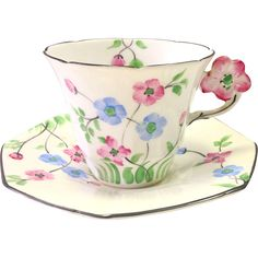 Antique Floral English Tea Cup with Molded Figural Handle and Matching from treasures-of-charleston on Ruby Lane