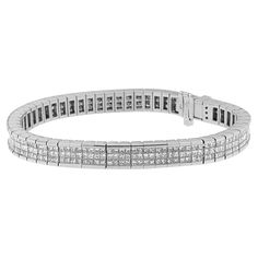 14K White Gold 7 7/8 ct. TDW Princess Cut Diamond Eternity Bracelet (G-H,VS2-SI1)