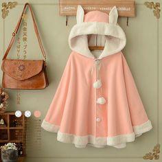 Pink/Navy Kawaii Rabbit Ears Hoodie Cape YV16042