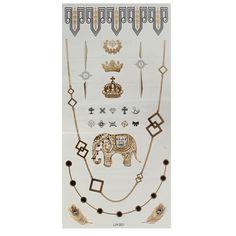 Cadena de elefante corona de plata metálica de oro tatuajes temporales pegatina arte corporal