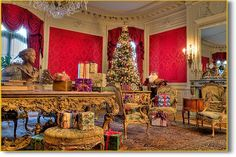 Gilded Age 'cottage' of coal baron Edward Berwind, The Elms - at Christmas, Newport RI. Victorian Christmas, Christmas Love, Vintage Christmas, Christmas Trees, Merry Christmas, Christmas Decorations, Newport Ri Mansions, Floor Sitting, House Sitting