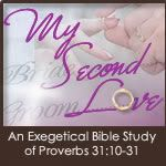 """My Second Love: A Proverbs 31 Study"" is an in-depth study with each lesson based on the 22 verses found in this passage that describes what a biblically submissive woman looks like in today's world.    This study provides many practical and realistic applications for each verse as well as the Scriptural bases for why and how a Christian woman can live for Christ and influence her family and community."