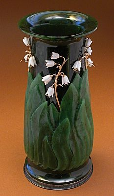 "Vase ""Lily of the valley"" - Hand made ceramic vase, stone cutting and applied precious and semi-precious stones with enamels and precious metals"