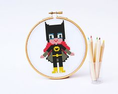 BATGIRL Cross stitch Pattern PDF   Boy Girl Superhero di POWSTITCH