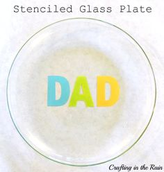 #DIY Fathers day gift - stenciled glass plate