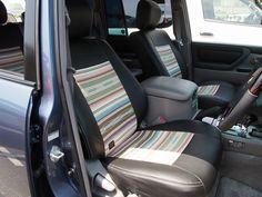 ランクル100ペンドルトンコラボシートカバー(アガベストライプ):ムーンアイズストリートカーナショナルズ出展車両 Toyota landcruiser100 x…