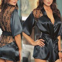 Grinta! 2017 delle Donne Calde Nero camicia da notte Sexy Del Merletto Del Raso Nuovo Robe Lingerie Sleepwear Costume Party Cosplay Giocattoli Del Sesso per la Donna