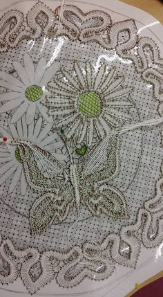 Mari Heikkanen modern part lace in process Notice - no pinholes on flowers