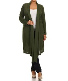 Look what I found on #zulily! Olive Asymmetrical Open Duster - Plus #zulilyfinds