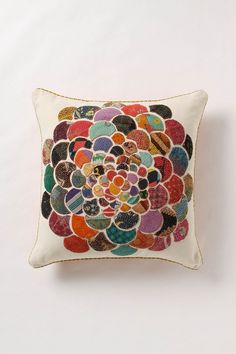 embroidered scrap flower pillow