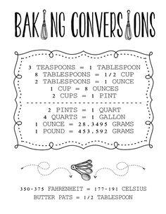 Baking Conversions - FREE Printables