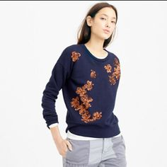 HOST PICK J.Crew Sequined Floral Sweatshirt Perfect for the holidays!☃ J.Crew Sequined Floral Sweatshirt in navy. This item is no longer available on-line or in stores. All photos from J.Crew. HOST PICK 12/13/15 Happy to SAVE you on shipping fee. Just ASK!  ✅Price is FIRM & FINAL unless bundled ✅Pls be mindful of Poshmark 20% fee ✅Same day or next day shipping ❌No trades   ❌No lowballs J. Crew Tops Sweatshirts & Hoodies
