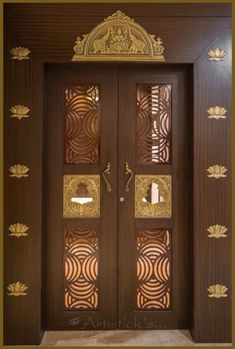 Pooja rooms are considered to be the most sacred and divine spaces of any home or office. These revered rooms provide us an intimate space for practising spirituality and devotion. Given its vital role in our homes and offices, we must now pay attention to its most important aspect – the doors. So here's a list of ten such beautiful design ideas for your Pooja room doors. Wooden Main Door Design, Double Door Design, Pooja Room Door Design, Home Room Design, Design Bedroom, Indian Main Door Designs, Door Design Images, Temple Design For Home, Houses