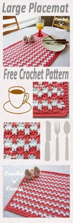 Dress up your dining table with this two color large placemat, why not polish up your crochet skills with this textured drop stitch design.