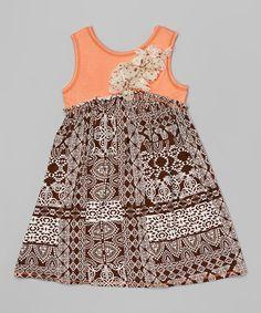 Another great find on #zulily! Pink Vanilla Coral & Brown Geo A-Line Dress - Toddler & Girls by Pink Vanilla #zulilyfinds