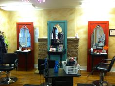 Salon stations made from old doors! I figured out what to do with my door obsession. Need to start collection old doors