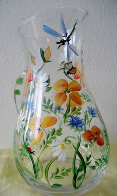 handpainted glass poppy pitcher. $36.00, via Etsy.
