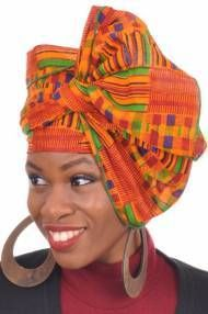 Dupsie's Kente African Print Head wrap with Green Trim One Size Multicolor: Kente African Print Head wrap/Scarf with Green Trim for Women. Note: This is not handwoven kente cloth, it is African made Kente print fabric African Hats, African Attire, African Wear, Blue Fashion, African Fashion, African Style, Women's Fashion, African Beauty, Fashion Women