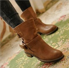 19 euro incl shipping Women motorcycle boots female leather PU flats boots vogue women martin shoes buckle riding elegant ankle boots Black/Brown-in Boots from Sh...