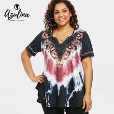 AZULINA Plus Size Tie Dye Curved Hem T-Shirt 2018 Summer V Neck Short  Sleeve Lace Print T Shirt Women Clothing Big Size 5XL Tops 6c06371f97d1