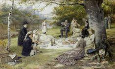 Picnic - George Goodwin Kilburne (1839-1924 n) pintor Inglés