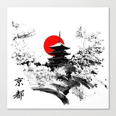 Kyoto - Japan Stretched Canvas by viva la revolucion - $85.00