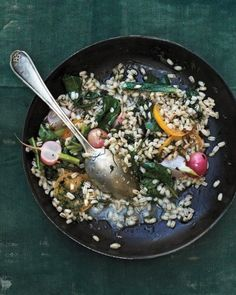 Barley Risotto with Swiss Chard, Radishes, and Preserved Lemon
