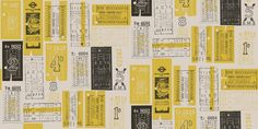 Hold Tight  (AZDPT017 Mustard) - Mini Moderns Wallpapers - A fun retro wallpaper featuring various vintage style bus tickets. Shown here in cream and mustard. Other colourways are available. Please request a sample for a true colour match.