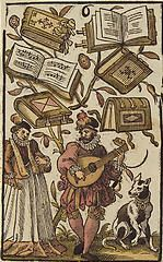 'The Six of Books', coloured woodcut from Jost Amman's 'Charta lusoria...