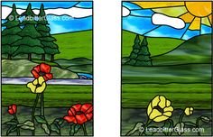 stained glass kitchen cabinet doors patterns | Stained Glass Landscape request