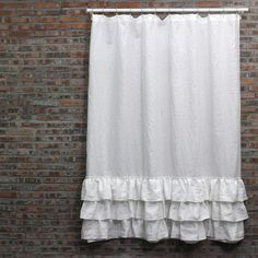 Keep The Floor Of Your Bathroom Dry By Hanging Washed Linen Shower Curtain With Three Ruffles