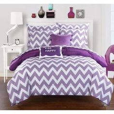 Chic Home 9-Piece Foxville Pinch Pleated and Ruffled Chevron Print REVERSIBLE, Includes Hashtag Pillow and Pom Pom Velour pillow Full Bed In a Bag Comforter Set Purple Sheets Included. #purplebedding #beddingsets #funkthishouse #shopstyle #afflnk