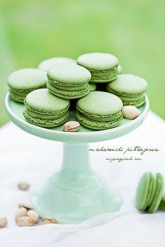 pistachio macarons - w/translator Best Macaroon Recipe, Macaroon Recipes, Macarons Filling Recipe, Cupcakes, Macaroon Wallpaper, Pistachio Macarons, Macaroon Cookies, French Macaroons, Polish Recipes