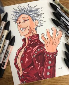 Anime Art by Incredible Anime Artists: Welcome to Anime Ignite Seven Deadly Sins Anime, 7 Deadly Sins, Anime Drawings Sketches, Pencil Art Drawings, Manga Drawing, Anime Artwork, Cool Artwork, Ban Anime, Seven Deady Sins