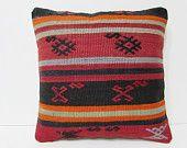 black decorative pillow coral throw pillow 16x16 kilim pillow orange pillow cover chevron pillow sham kilim pillow case throw pillow 25811