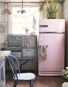 "Vintage Kitchen Appliances - From a local moving sale came this hardly used gas stove. The working refrigerator was a ""horrible brown"" when the owner nabbed it for $30 at a yard sale. She turned it shell pink by taking it to an automotive painter."