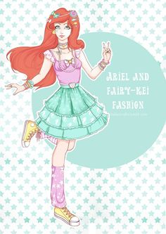 My little project dedicated Disney Princess and Japanese street fashion (fairy-kei, gothic&lolita, mori-girl, otome-kei)and the first model is it Little Mermaid Ariel in fairy-kei's style...