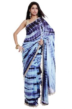 Purple & Blue Tie-dye Saree with Silver Scallop Border by Neha Chavan