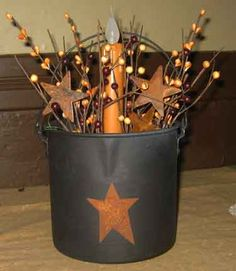Antique Star Bucket with Candle Primitive Country Crafts, Primitive Christmas, Primitive Decor, Prim Decor, Country Decor, Rustic Decor, Primitive Lighting, Primitive Candles, Fall Crafts