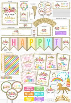 Printable Unicorn Glitter Birthday Party Package | Unicorn Face | Rainbow Party | Girl's Magical 1st Birthday | Pink and Gold Ticket Birthday Invitation | Unicorn Decorations | Banner | Cupcake Toppers | Food Labels | Photo Props | Favor Tag | Signs