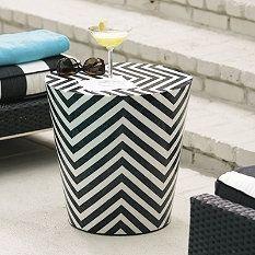 Cadiz stool - Black and white stones and fiberglass, 17 inch diameter, 17 inch height
