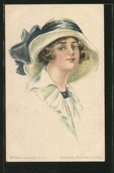 old postcard: AK Schöne junge Frau mit Hut
