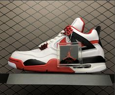 473077282647 This Air Jordan 4 Retro Fire Red features a clean White leather upper with  Black detailing