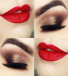 Hot Red Lips and Eye Makeup for Prom 2016