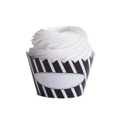 Blank Personalized Message Striped Cupcake Wrappers