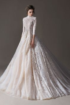 Classy is the New Skimpy: 20 Elegant Long Sleeve Wedding Dress Designs - A long sleeve wedding dress can be both classical and contemporary. A well-fitting choice for your dream wedding, here are some finest designs to start! Wedding Robe, Long Sleeve Wedding, Modest Wedding Dresses, Wedding Dress Sleeves, Designer Wedding Dresses, Bridal Dresses, Lace Dress, Flowery Wedding Dress, Lace Wedding